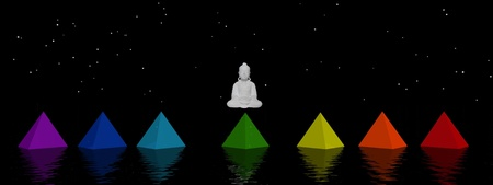 transcendence: pyramids chakras and buddha Stock Photo