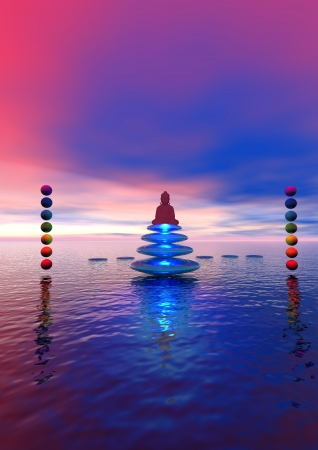 steps and buddha and chakras Stock Photo - 12394208