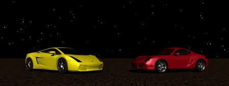 two cars yellow and red photo