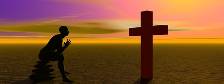 man praying and cross Stock Photo - 12394225