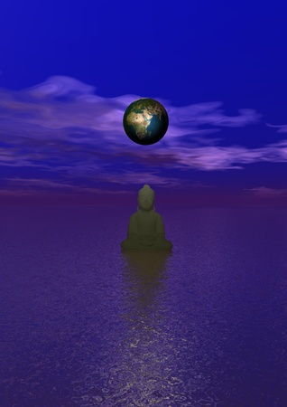planet and buddha Stock Photo - 12394236
