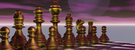 powe: checkmate and sky purple Stock Photo