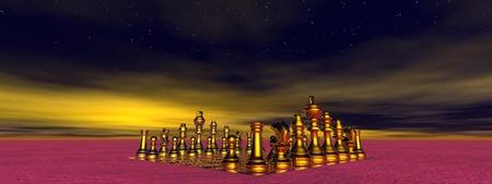 Schachmatt: Schachmatt und Himmel gelb