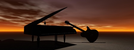 piano and guitar and orange sky photo