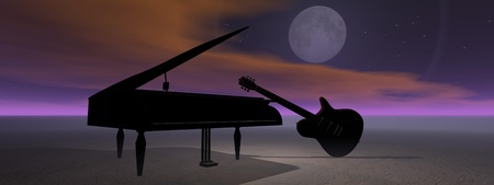 moon and guitar and piano photo