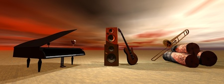 piano and guitar and sky orange photo