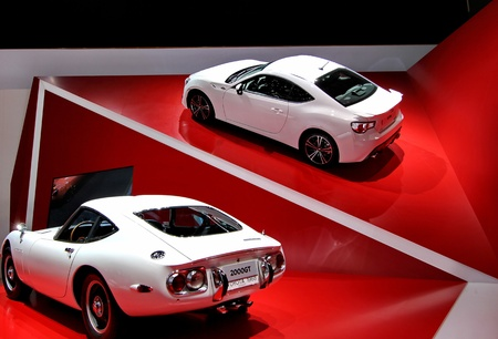 GENEVA   MARCH 16   two white  toyota 2000GT on display at the 82nd  international motor show Palexpo-Geneva on march 16;2012 in Geneva