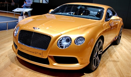 GENEVA   MARCH 16   A BENTLEY new continental GT v8 on display at the 82nd  international motor show Palexpo-Geneva on march 16;2012 in Geneva
