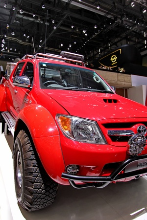 GENEVA  MARCH 16 Toyota Hilux red on display at the 82nd  international motor show Palexpo-Geneva on march 16;2012 in Geneva