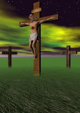 golgotha: Golgotha cross and sky yellow Stock Photo