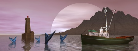 moon fish: boat and fish and ligthouse and moon Stock Photo