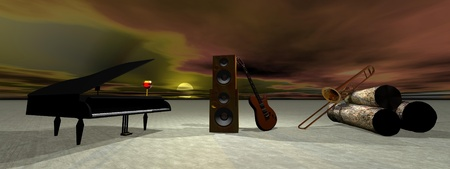 octaves: piano and guitar and landscape Stock Photo