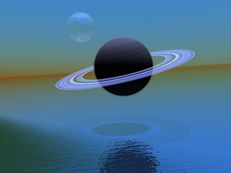 planet saturn and sky blue Stock Photo - 13194515