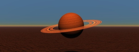 Planet saturn and landscape red Stock Photo - 13194507