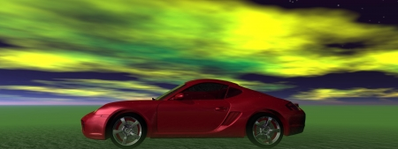 car red and sky green photo