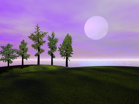 landscape and hills and trees photo