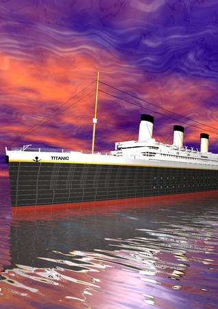 Titanic and sky pink Stock Photo - 13442219