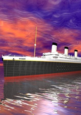 titanic: Titanic and sky pink