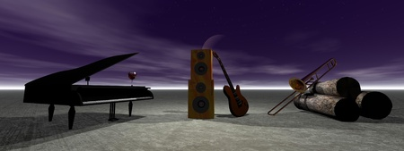 piano and guitar and sky photo