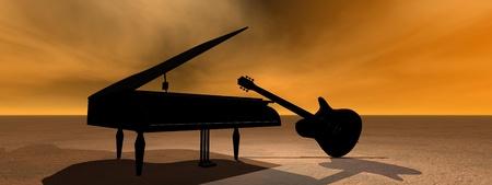piano and guitar black photo