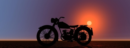 motor bike and sun orange photo