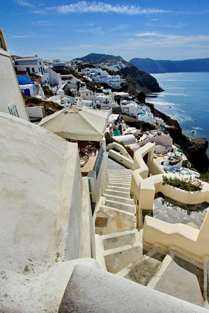 View of Oia at the greek island of Santorini, Greece photo