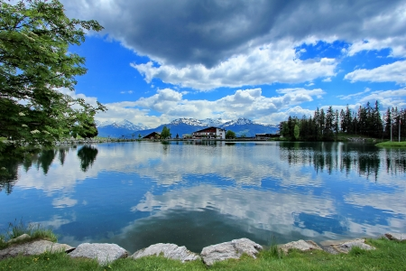 Crans-Montana, Switzerland, lake and sky blue