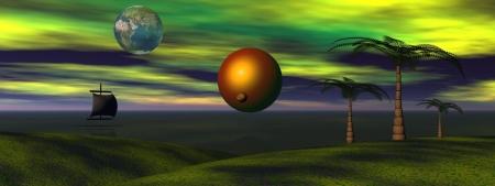 sun and venus and landscape photo