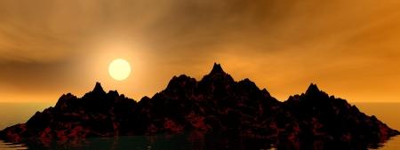 volcano and sky orange Stock Photo - 14266086