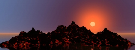 volcano and sun red photo