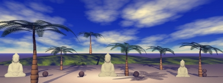 buddha and palms and coconut photo
