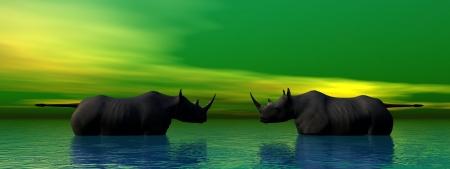 rhinoceros and sky green