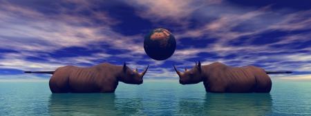 rhinoceros and planet photo