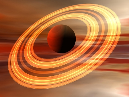 planet saturn and sky orange Stock Photo - 15892948