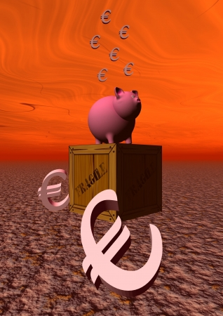 pig and euro and sky photo