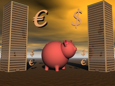 pig and euro and dollar photo
