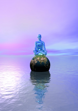 buddha blue and planet earth Stock Photo - 16268839
