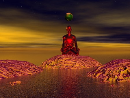 tranquility: buddha red and mountains Stock Photo