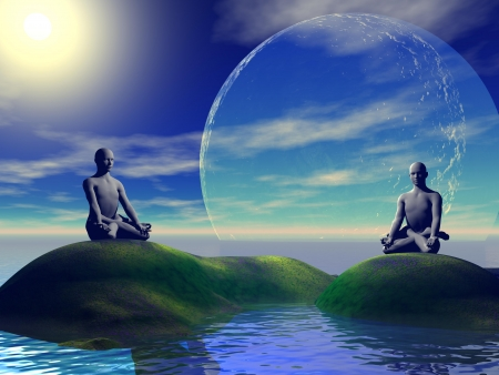 man meditating: men grey and moon Stock Photo