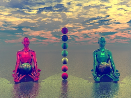 3d aum: buddha and chakra and earth