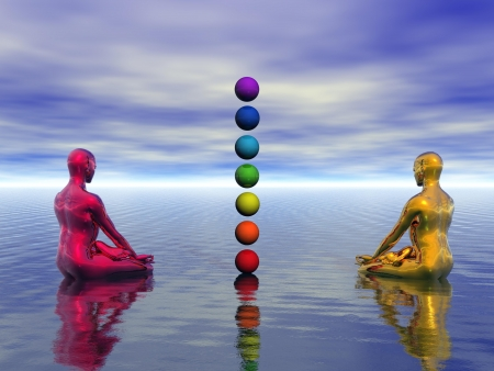 kundalini: buddha red and yellow and chakra