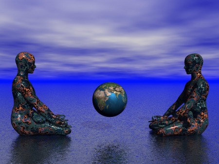 3d om: buddha and earth Stock Photo
