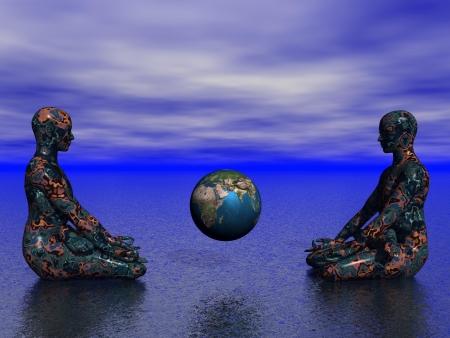 kundalini: buddha and earth Stock Photo