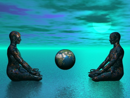 heart chakra red: buddha and earth blue