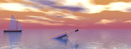 bottle and sea and sky photo