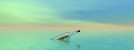 bottle and sea and sky Stock Photo - 16798697