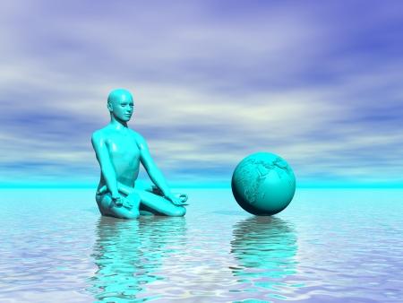 heart chakra red: chakra blue and world and sea