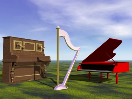 piano and harp and sky photo