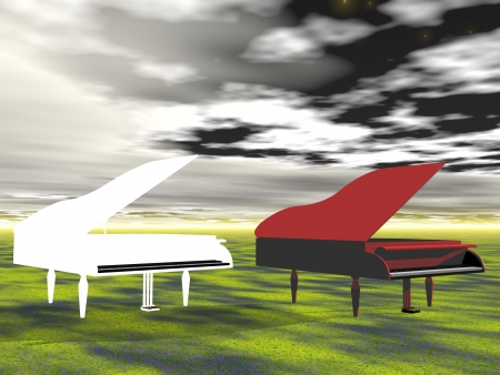 piano red and white photo
