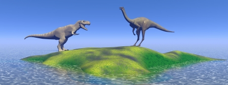 dinosaur and mountains green photo